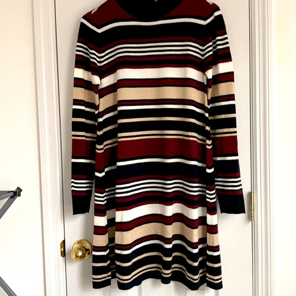 Neutral Tone Striped Sweater Dress